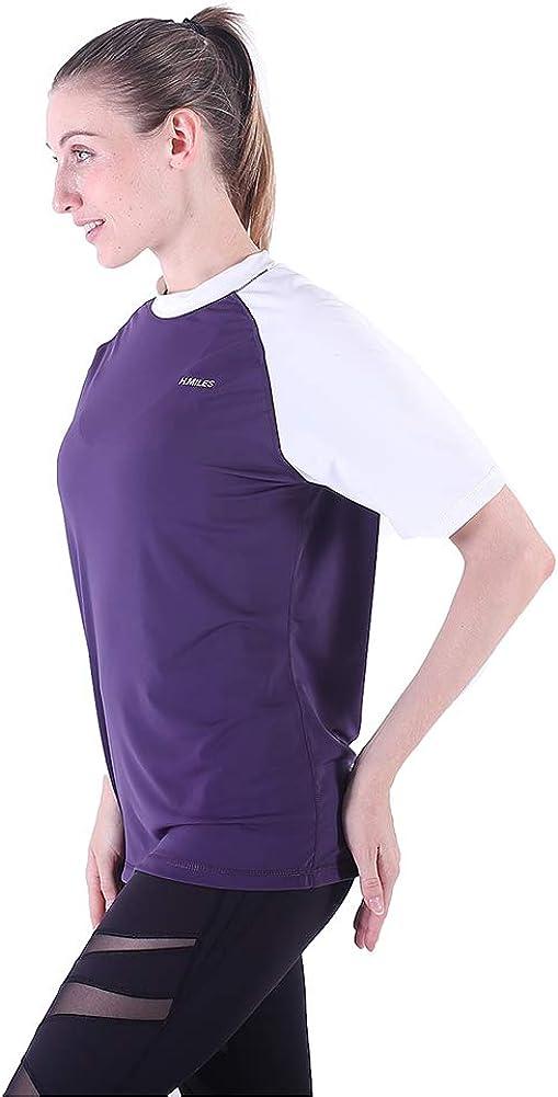H.MILES Womens Rash Vest Short Sleeve Girls Adults Rashguard Swim Base Layer Snorkeling Swimming Surfing Tops Diving Beach T-shirt