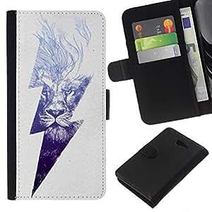 KLONGSHOP // Tirón de la caja Cartera de cuero con ranuras para tarjetas - Rayo Ac Corriente León Poder Gris - Sony Xperia M2 //