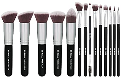 BS-MALL(TM) Makeup Brushes Premium 14 Pcs Synthetic Foundation Powder Concealers Eye Shadows Silver Black Makeup Brush Sets