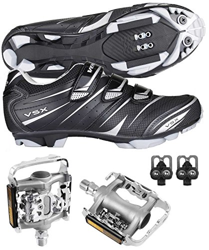 Venzo Mountain Bike Bicycle Cycling Shimano SPD Shoes + Multi-Use Pedals 47 ()