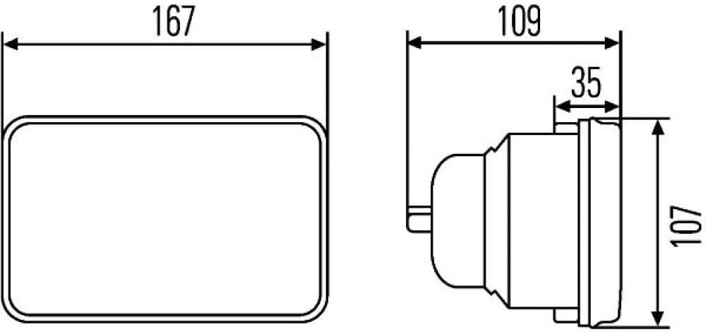 Ref Montaggio Zona montaggio: Sx//Dx interno Lente del diffusore indurita HELLA 1AB 003 177-791 Gruppo ottico 24V H4//T4W 12,5 Alogeno