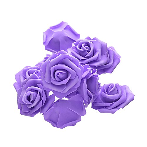 Takefuns Artificial Flowers Rose Real Looking Fake Roses Wedding Decorations Party Flower Bouquet Solid DIY Wreath Craft Foam Flowers 100 PCS/lot (7CM-Purple)