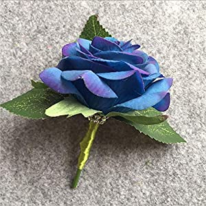 XGM GOU Artificial PU White Rose Groom Boutonniere Wedding Party Men Corsage Prom Pin Brooch Lapel Flower Decoration 7