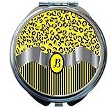 Rikki Knight Letter''B'' Yellow Leopard Print Stripes Monogram Design Round Compact Mirror