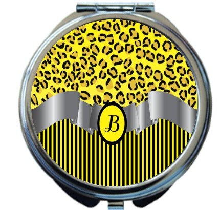 Rikki Knight Letter''B'' Yellow Leopard Print Stripes Monogram Design Round Compact Mirror by Rikki Knight