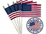 """Andi & Nic Creations Handheld Small American Flag Set of 12 Made in The USA Mini American Stick Flags 4""""x6"""" with Spear Top – Rainproof, Vivid Color US Flags Ideal for Scout Troops, Parades & More"""