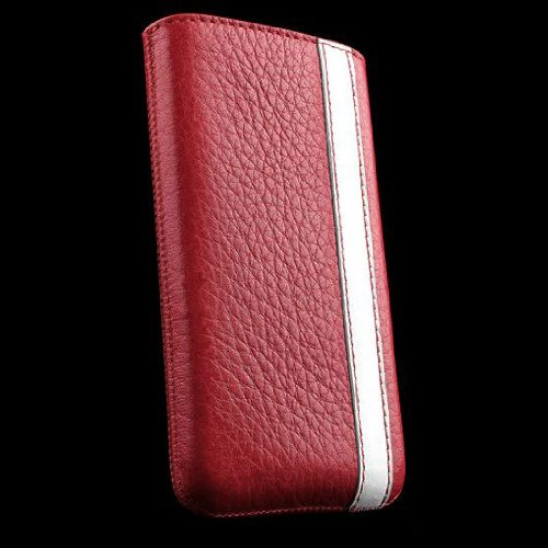 Sena Genuine Leather Corsa Pouch Case for Apple iPhone 4 & iPhone 4S (GSM/CDMA) - Red & White Stripe - 1 Pack - Retail Packaging - SENA 156994 (Sena Iphone 4s Leather Case)