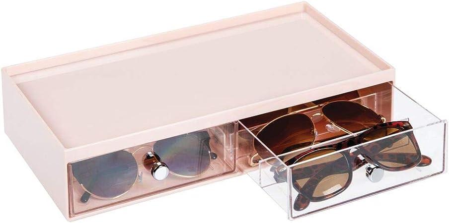 mDesign Cajas para gafas de sol – Cajoneras de plástico con 2 cajones y 3 compartimentos en cada cajón – Organizador de armarios para guardar todo tipo de gafas – rosa claro/transparente: Amazon.es: Hogar
