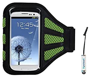 Premium Sport Armband Case for LG Terra - Black/ Green (with Green Mess Ports)+ Mini Smart Phone Touch Screen Stylus