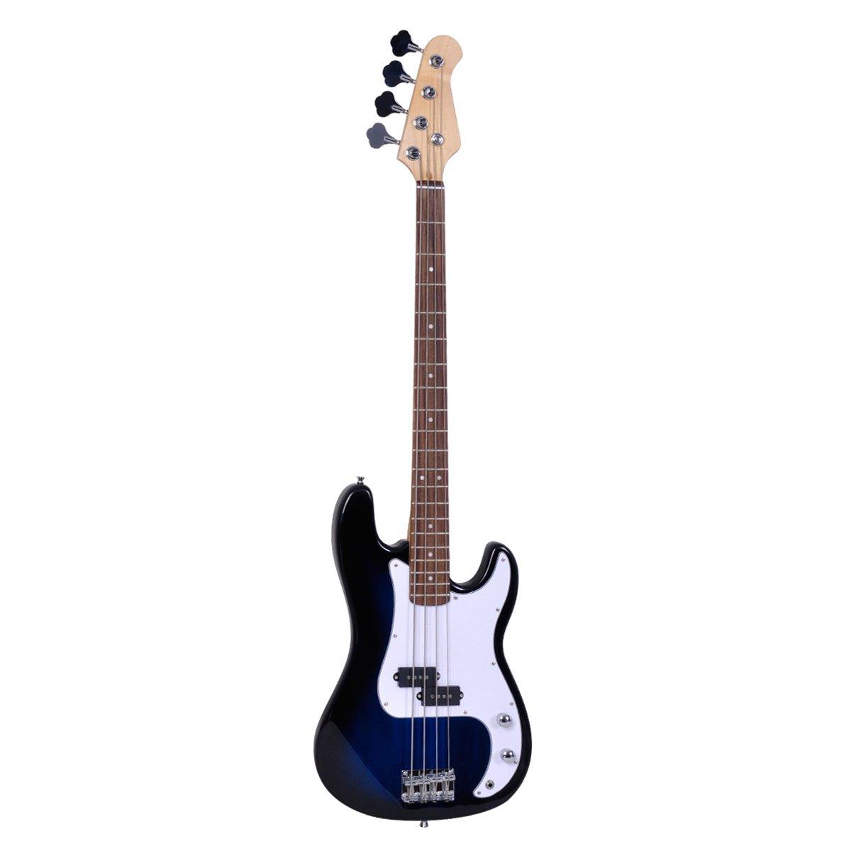 Polar Aurora NEW Full Size 4 Strings Blue Electric Bass Guitar+ Amp Cord+ Gigbag loongstarinc GF30182