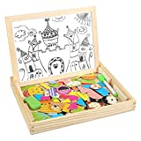 Peradix Double-side Drawing Board Toys Magnetic Puzzle Games Dry Erase Board Chalkboard Easel for Kids Imagination