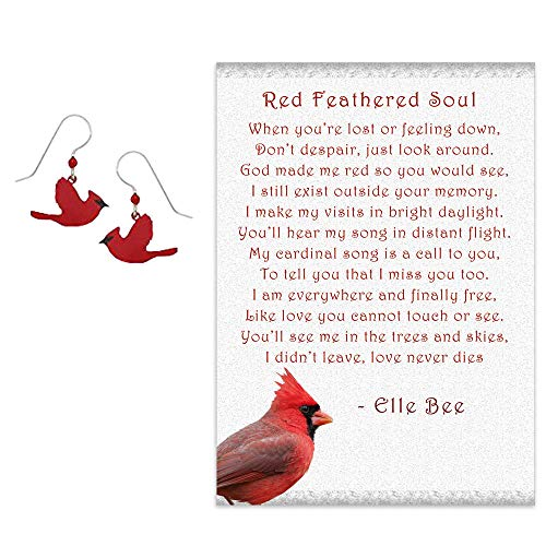 (Sienna Sky Artisan Cardinal in Flight Earrings with Red Feathered Soul Poem and Gift Box Sympathy Grief Gift)