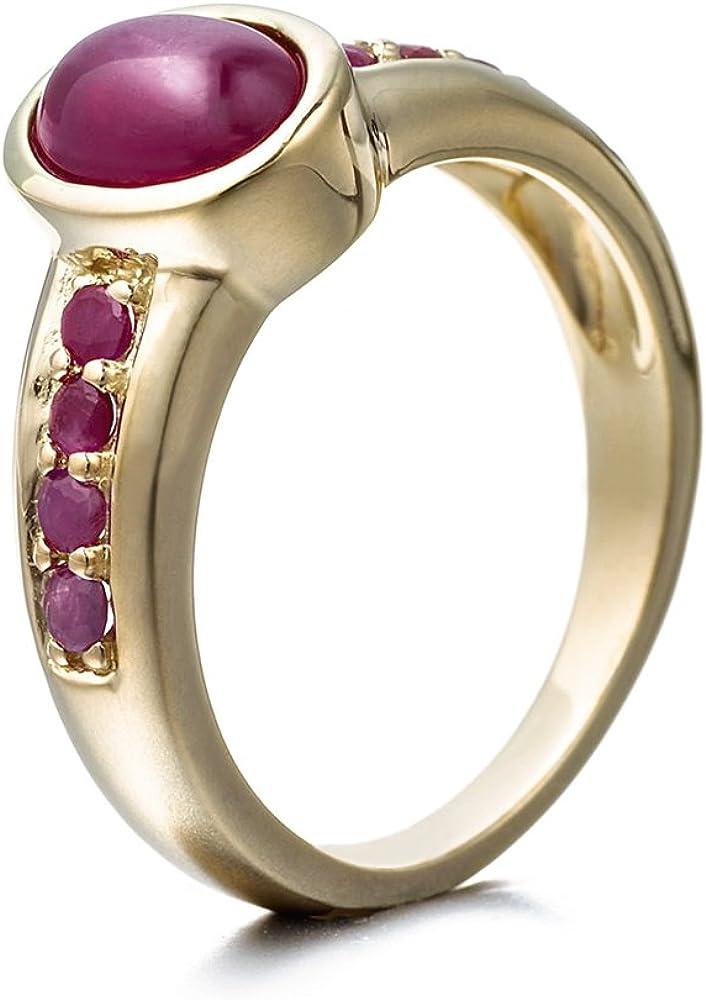 Goldancé - Anillo de mujer - plata esterlina 925 bañada en oro - auténtico piedras preciosas: Ruby ca. 2.11ct. - R8184GFR_SS/14K