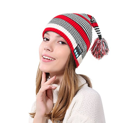 Headset White Hands Free (Welltop Bluetooth Beanie Stylish Warm Winter Knit Hat with Detachable Wireless Bluetooth Headset Hands Free for Outdoor Sports)