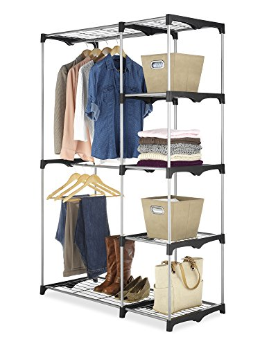 Whitmor Double Rod Closet Freestanding Silver / Black