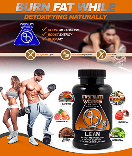 Lean Diet Pills & Weight Loss Supplement - All Natural, Appetite Suppressant, Energy & Detox Fat Burner Support with Apple Cider Vinegar (90 Tablets) Non-GMO by Infinium Works