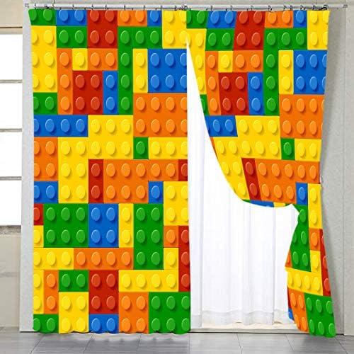 BlessLiving Colorful Toy Printed Window Curtains Building Blocks Curtain Drapes Fun Brick 3D Design Kids Teens Girls Boys Living Room Bedroom Window Treatment Panels, 1 Panel, 42 W x 96 L, Grommet