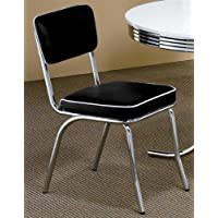 Set of 2 Retro Chrome Dining Chairs - Black