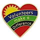 PinMart's Volunteers Make A Difference Heart Enamel Lapel Pin