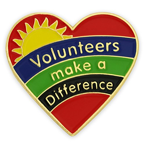 PinMart's Volunteers Make A Difference Heart Enamel Lapel Pin (Difference Lapel Pin)