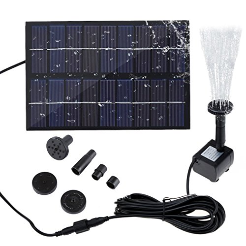 SIEGES Mini Solar Power Water Fountain Submersible Pump Kit with Nozzle Sets Free Standing Watering Pump for Garden Pond Pool 9V 1.8W (Submersible Fountain Pump Kit)