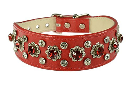 Evans Collars Shaped Collar with Dandy Pattern Jewels, Size 18, Vinyl, Red