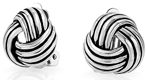 Bling Jewelry Love Knot Woven Clip On Earrings Antique Style Rhodium Plated Brass (Rhodium Plated Antique Style Ring)