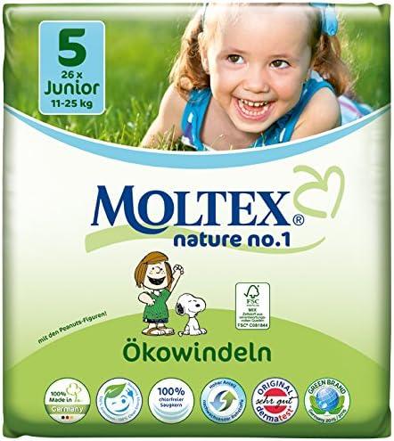 Gr/ö/ße 5 Moltex Nature No 1 /Ökowindeln Junior 11-25 kg, 1 x 26 Windeln