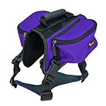 Ondoing Dog Backpack Pet Harness Reflective Adjustable Saddle Bag Training Hiking Camping for Medium and Large Dogs L, Purple