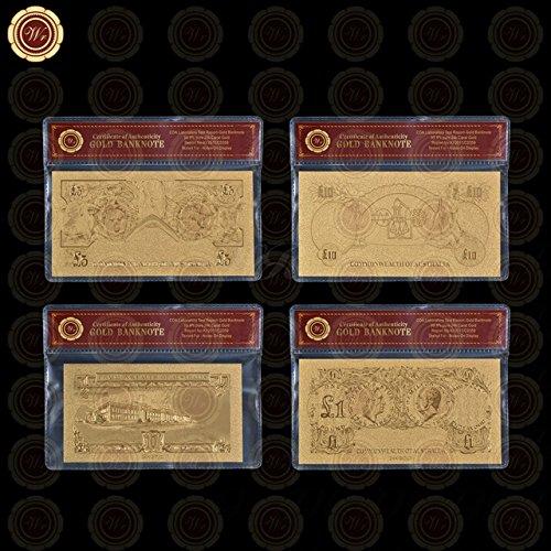 Generic Imported WR Luxus-Geldschein-Schein, 24 Karat 999.9, versilbert, mit Kunststoffhülle, Vergoldetes Metall, Typ 11, Größe:Original Banknote Größe