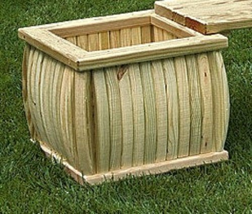 Pressure Treated Pine Outdoor Curved Wood Planter Amish Made USA - (Unfinished Wood Plant Stand)