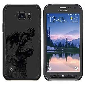 Caucho caso de Shell duro de la cubierta de accesorios de protección BY RAYDREAMMM - Samsung Galaxy S6Active Active G890A - Scary Gruñido del lobo Perro