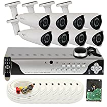 GW Security 8 Channel 960H & D1 HDMI DVR Surveillance Security Camera System with 8 High-Resolution Cameras and Pre-Installed 1TB Hard Drive