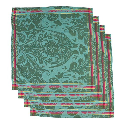 Tag (4 Pack) Cloth Napkins: Soft Cotton 20 Inch 4 Napkins Set For Dinner Napkins, Table Napkins, Home Decor with Garden Blossom Print (Best Cotton Fabric In India)