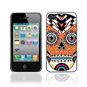 Designer Depo Hard Protection Case for Apple iPhone 4 4S / Cool Neon Sugar Skull Tattoo