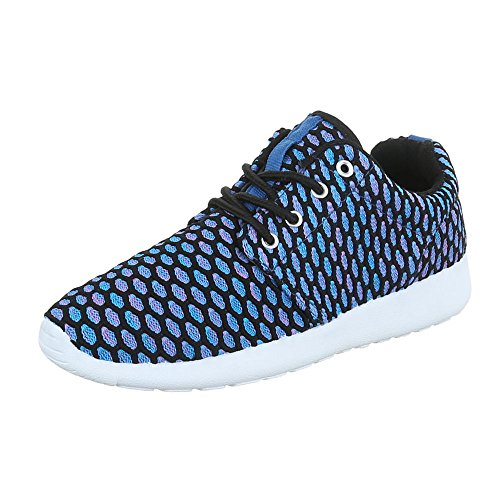 9112ccb6940e26 Ital-Design Low-Top Sneaker Damenschuhe Low-Top Sneakers Schnürsenkel Freizeitschuhe  Blau SW15715