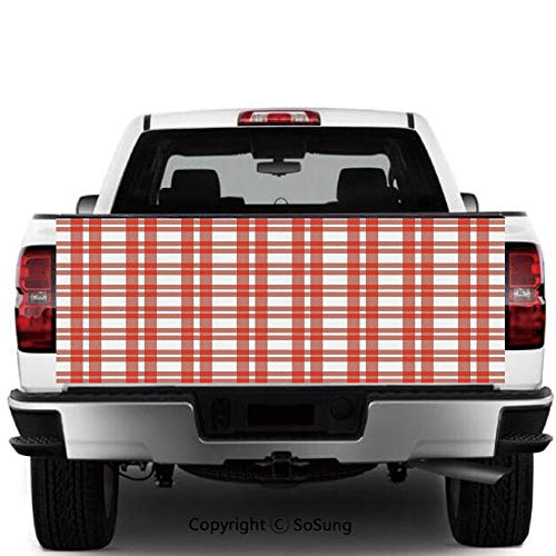 SoSung Red Plaid Vinyl Wall Stickers,Checkered Squares and Stripes Abstract Geometric Arrangement Quilted Pattern Decorative Cars Trucks Decorative Decal Sticker,55x15 Inches,Vermilion White