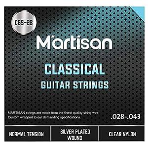 MARTISAN klassische Gitarrensaiten Konzertgitarre, Saiten aus Nylon und Silber für klassische Gitarre Normal Tension…