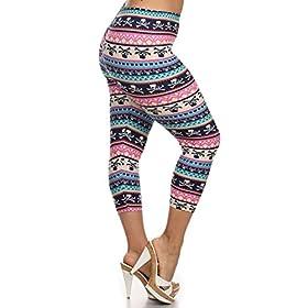 - 513 RKjGF L - Leggings Depot Women's Plus Size High Waisted Capri Print Leggings