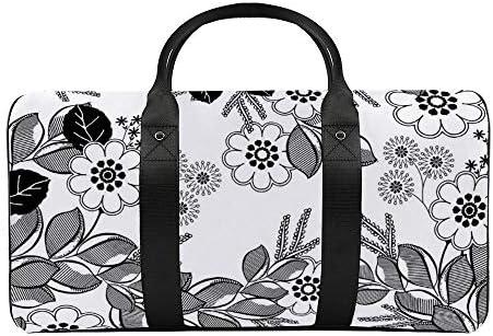 花の塗り絵1 旅行バッグナイロンハンドバッグ大容量軽量多機能荷物ポーチフィットネスバッグユニセックス旅行ビジネス通勤旅行スーツケースポーチ収納バッグ