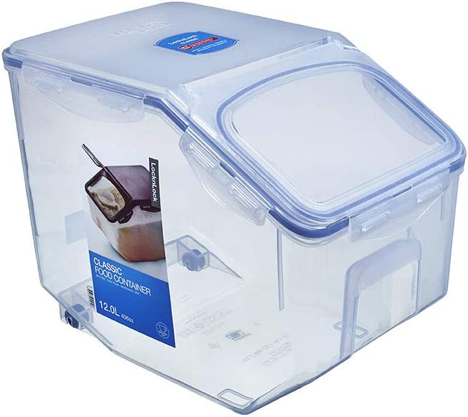 LOCK & LOCK Easy Essentials Food Lids (Flip-Top) / Pantry Storage, BPA Free, Top-50.7 Cup-for Rice, Clear
