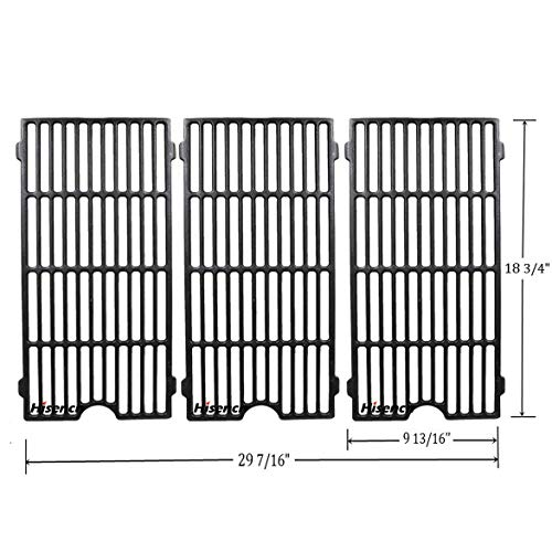 (Hisencn Grill Repair parts Cast Iron Cooking Grid Grates Replacement For Perfect Flame 3019L, 3019LNG, Jenn Air 720-0709, 720-0720, 730-0709, Master Forge GCP-2601 Gas Grill Model, 18.75