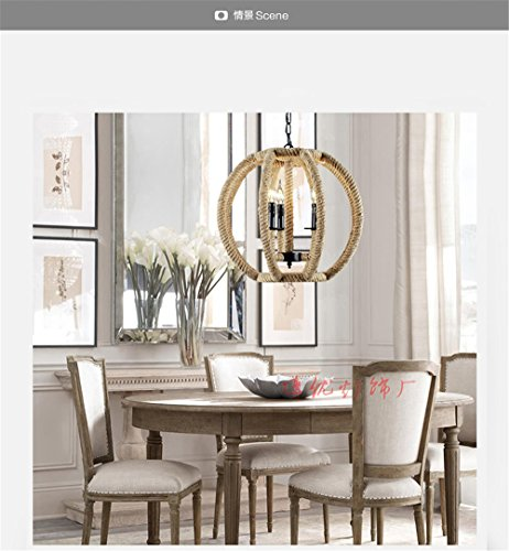 American village retro restaurant chandeliers modern bar and dining room where Taipei aisle Chandeliers 3 head lanterns chandelier lamp, 5045 sisal lifting chain length 60 cm Taipei Lantern