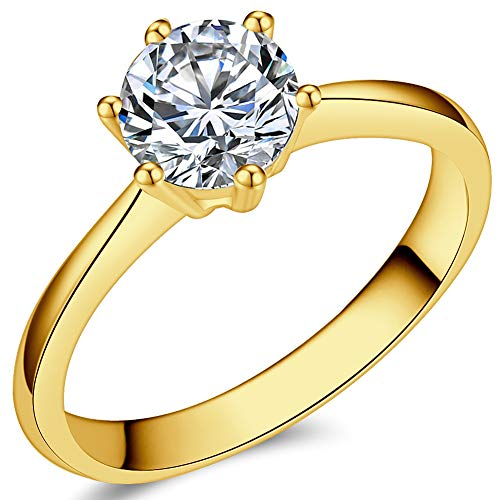 (Jude Jewelers 1.0 Carat Classical Stainless Steel Solitaire Engagement Ring (Gold, 3))