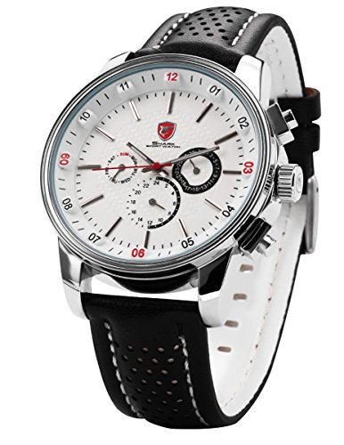Pacific Angel Shark Men's Quartz Movement 6 Hands Date 24Hrs White Dial Sport Watch + Box SH093 by Shark Sport Watch