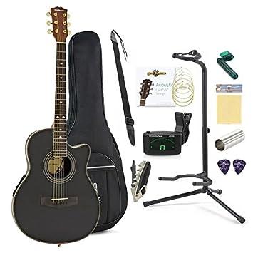 Paquete Completo de Guitarra Acústica Roundback de Gear4music Negro