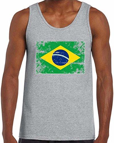 Awkward Styles Brazil Flag Tanks for Men Brazil Tank Top Brazilian Gifts for Him Grey (Brazil Sleeveless)