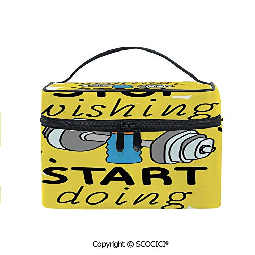 Lightweight Cosmetic Travel Bag Beauty Toiletry Bag Stop Wishing Start Doing Inspiring Inscription Dumbbells Water Sports Doodle Style Decorative Portable Multi-function Organizer