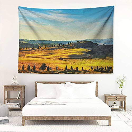 Italian,Wall Decor Tapestry Scenery of Italian Rural with Trees Meadows and Sky Mediterranean Farm Landscape 72W x 54L Inch Tapestry Wallpaper Home Decor Blue Yellow
