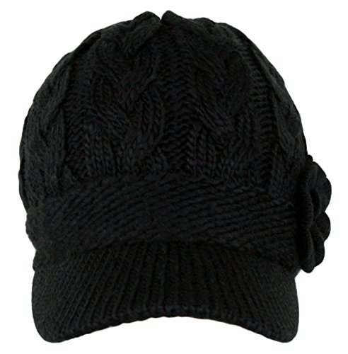 a6a24aabffa Women s Cable Knitted Double Layer Visor Beanie Hats with MIRMARU Hair Tie